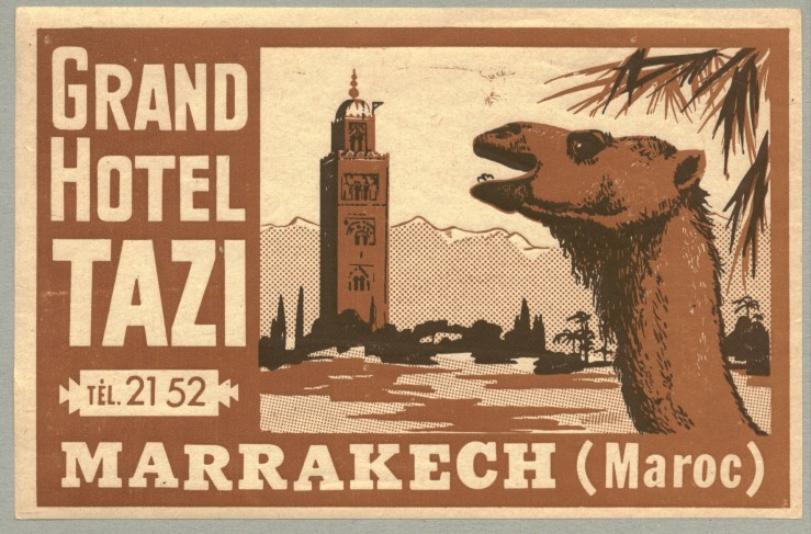 Hotel luggage label for Grand Hotel Tazi, Marrakech, Morocco. Image shot 1930. Exact date unknown.